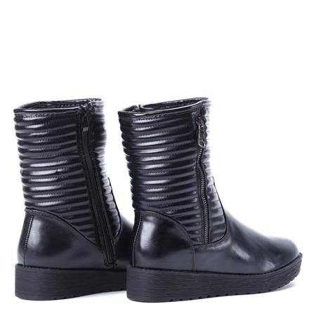 Czarne botki na wyższej podeszwie - Obuwie