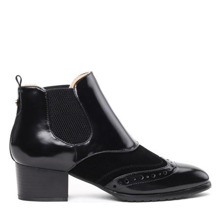 Czarne botki retro lakierowane Farinola - Obuwie