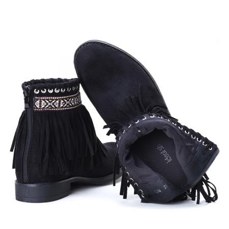 Czarne botki w azteckie wzory Maddie - Obuwie