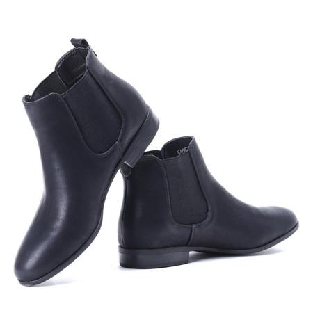 Czarne botki z gumą - Obuwie
