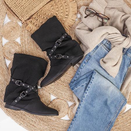 Czarne botki z ociepleniem Little Rock - Obuwie