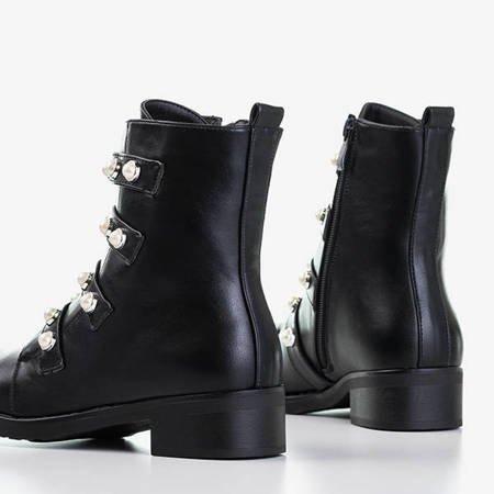 Czarne botki z perełkami Hoga - Obuwie