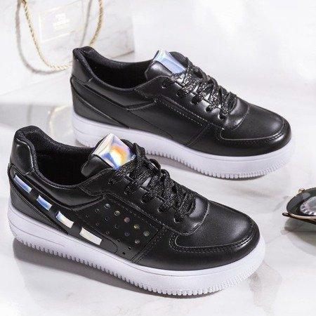 Czarne buty sportowe na grubej podeszwie Rosali - Obuwie