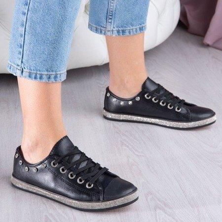 Czarne buty sportowe z cyrkoniami Koral - Obuwie
