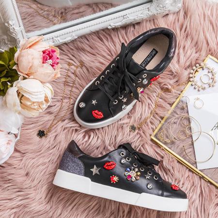 Czarne buty sportowe z ozdobami Gavriella - Obuwie