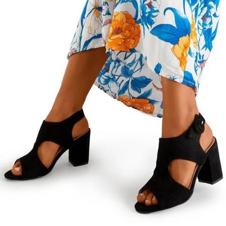Czarne damskie ażurowe sandały na słupku Cytuss- Obuwie