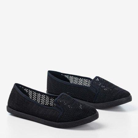 Czarne damskie ażurowe slip - on Hessani - Obuwie