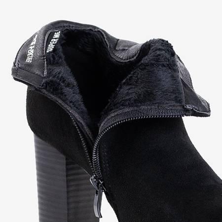 Czarne damskie botki na słupku z ozdobami Bekhof - Obuwie