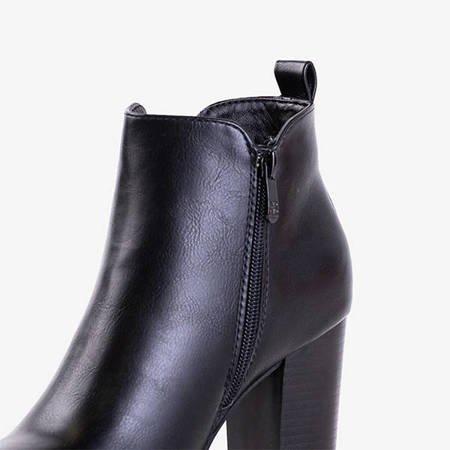 Czarne damskie botki na wyższym słupku Lucretia - Obuwie
