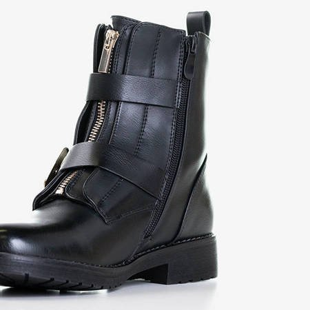Czarne damskie botki z klamrami Violet - Obuwie