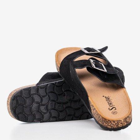 Czarne damskie klapki z drobinkami brokatu Salala - Obuwie