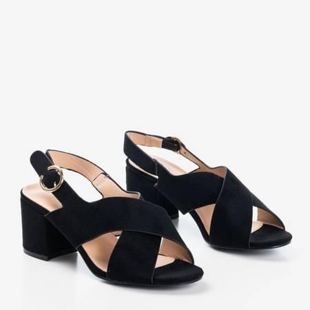 Czarne damskie sandały na słupku City Girl - Obuwie