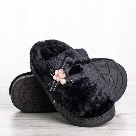 Czarne kapcie z ozdobami Flower Power - Obuwie