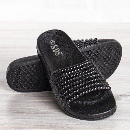 Czarne klapki gumowe Gacciastrea - Obuwie