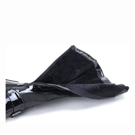 Czarne kozaki lakierowane Regina - Obuwie