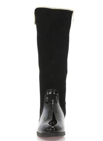 Czarne kozaki z ozdobnym suwakiem - Obuwie