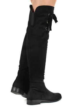 Czarne kozaki zamszowe - Obuwie