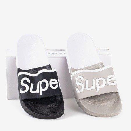 Czarne męskie klapki z napisem Super - Obuwie