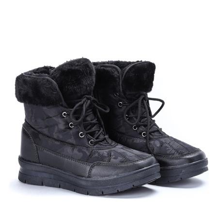 Czarne, ocieplane śniegowce damskie- Obuwie
