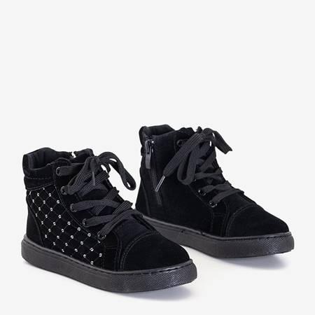 Czarne pikowane sneakersy dziecięce Ferro - Obuwie