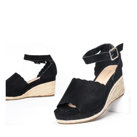 Czarne sandały a'la espadryle na koturnie Summer Time - Obuwie