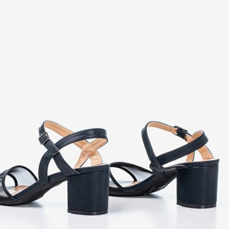 Czarne sandały damskie na niskim słupku Vivianne - Obuwie