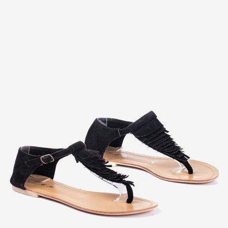 Czarne sandały japonki damskie z frędzelkami Wacobe - Obuwie