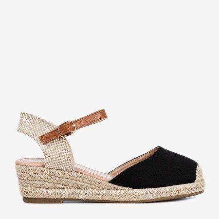 Czarne sandały na koturnie a'la espadryle Pylunia - Obuwie