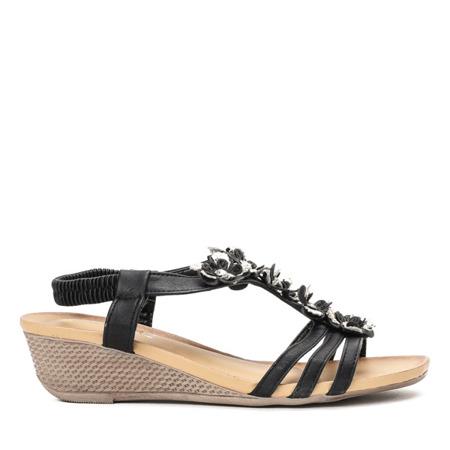 Czarne sandały na niskiej koturnie Gold Flower - Obuwie