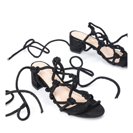 Czarne sandały na niskim słupku Cherise -  Obuwie