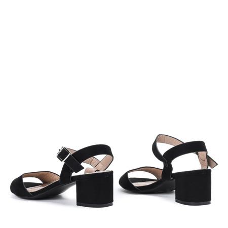 Czarne sandały na niskim słupku Nio - Obuwie