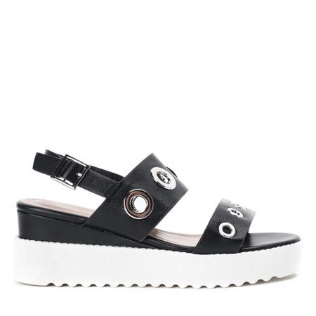 Czarne sandały na platformie z przelotkami Angelo - Obuwie