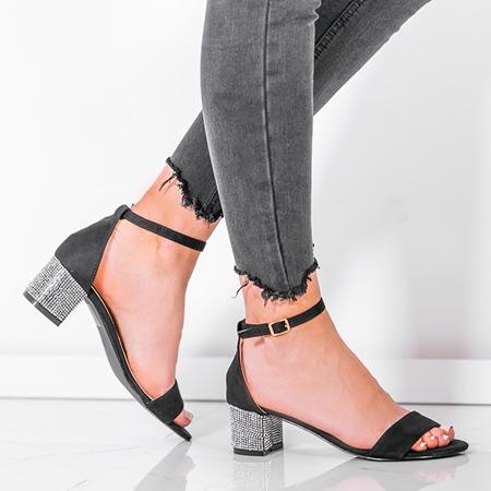 Czarne sandały na słupku z ozdobnymi cyrkoniami Olifa - Obuwie