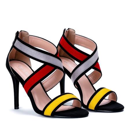 Czarne sandały na szpilce z kolorowymi wstawkami Maribel - Obuwie
