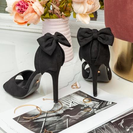 Czarne sandały na szpilce z ozdobną kokardką Proeline - Obuwie