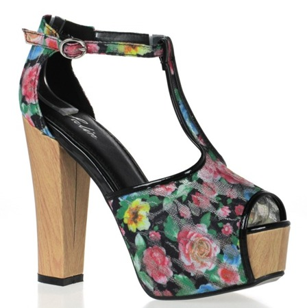 Czarne sandały na wysokiej platformie Florene - Obuwie