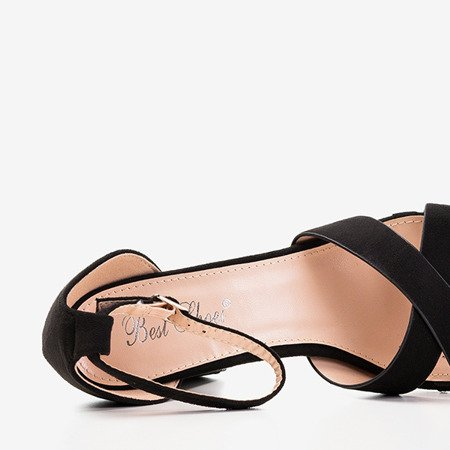 Czarne sandały na wyższym obcasie Molanda - Obuwie