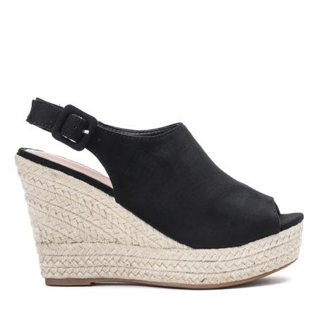 Czarne sandały z cholewką na wysokiej koturnie Barumini - Obuwie