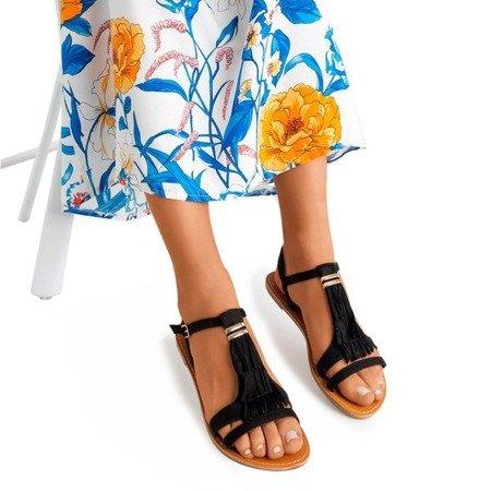 Czarne sandały z frędzelkami Minikria - Obuwie