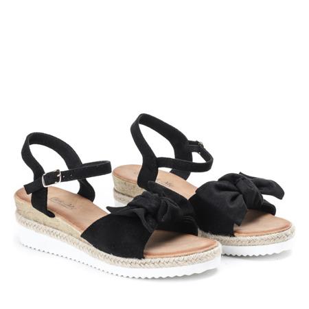 Czarne sandały z kokardką na koturnie Marcola - Obuwie