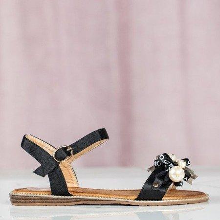 Czarne sandały z ozdobami Malena - Obuwie