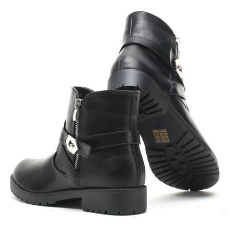 Czarne, skórzane workery - Obuwie