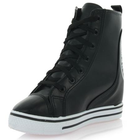 Czarne sneakersy na koturnie Lasegreta - Obuwie
