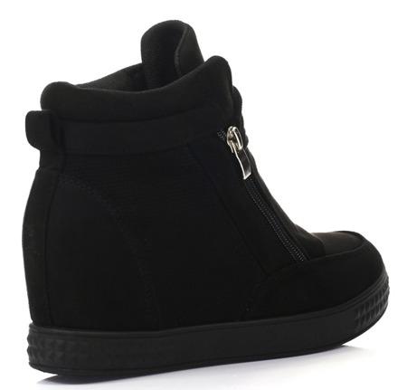 Czarne sneakersy na koturnie Velicienta - Obuwie