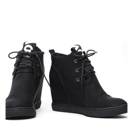 Czarne sneakersy na krytym koturnie Abella - Obuwie
