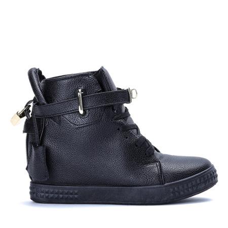 Czarne sneakersy na krytym koturnie Denneya - Obuwie