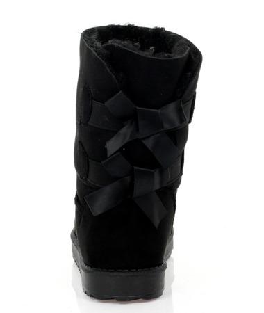 Czarne śniegowce emo z kokardkami - Obuwie