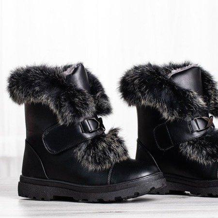Czarne śniegowce z futerkiem All About You - Obuwie