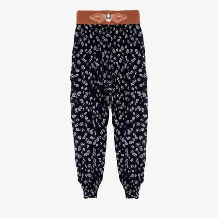 Czarne spodnie alladynki we wzorki - Odzież