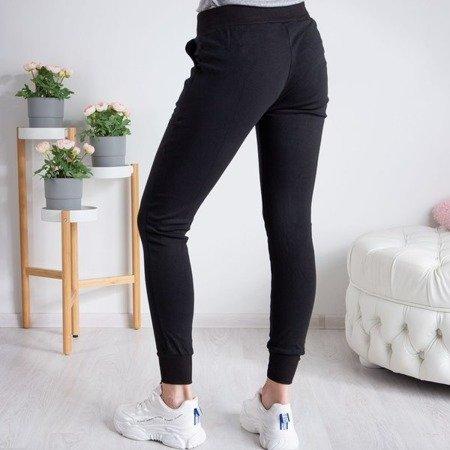 Czarne spodnie dresowe z bawełny - Spodnie